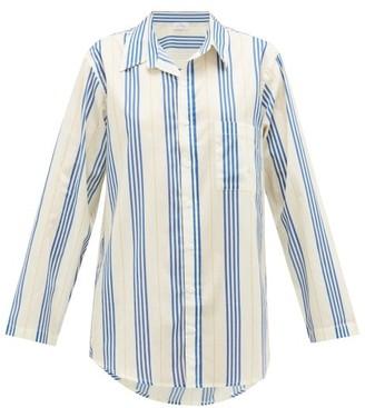 POUR LES FEMMES Boyfriend Striped Cotton Sleep Shirt - Blue Stripe