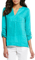 Preston & York Noelle Roll-Tab Sleeve Linen Blouse