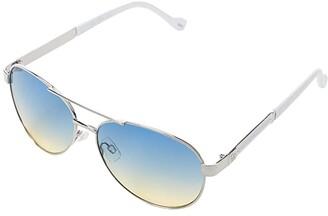 Jessica Simpson 57 mm Refined UV Protective Logo Metal Aviator Sunglasses (Silver/White Frame/Gradient Brown/Tinted Lens) Fashion Sunglasses