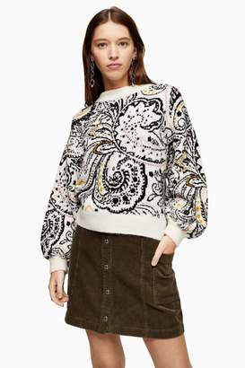 Topshop Womens Knitted Paisley Floral Jumper - Ivory