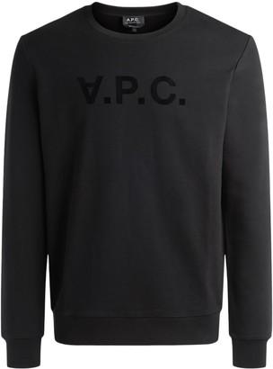 A.P.C. Crewneck Sweatshirt In Black Cotton With Logo