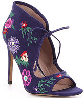Betsey Johnson Caira Microsuede Floral Print Peep-Toe Booties
