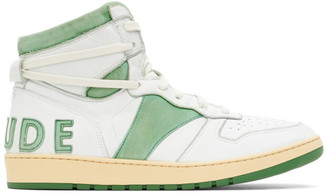 Rhude SSENSE Exclusive White and Green Rhecess Hi Sneakers