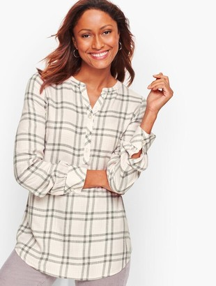 Talbots Banded Collar Popover - Ivory Plaid