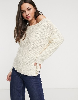 Glamorous loose knit jumper in cream