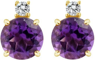 14K 6mm Semi-Precious Gemstone Diamond Stud Earrings