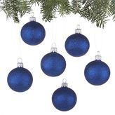 Crate & Barrel Glitter Ball Blue Ornaments Set of Six