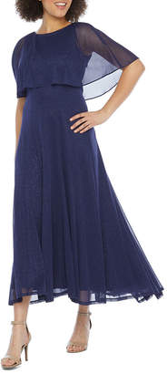 J Taylor Short Sleeve Cape Evening Gown