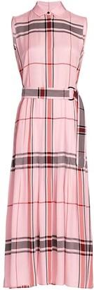 Akris Punto Belted Check Maxi Dress