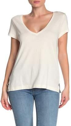 Jason Scott Solid V-Neck Cap Sleeve T-Shirt