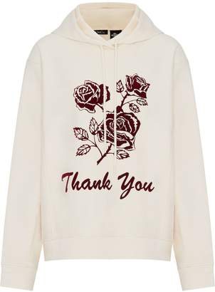 Mo&Co. Thank You Floral Graphic Cotton Hoodie