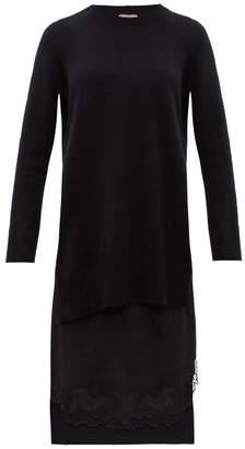 No.21 No. 21 - Lace-trimmed Layered Wool & Satin Sweater Dress - Womens - Black