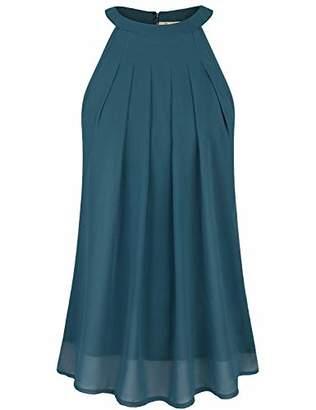 Cyanstyle Women's Halter Tank Tops Sleeveless Chiffon Shirt Summer Casual Tunic Blouse XL