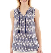 JCPenney STYLUS Stylus Sleeveless Chevron Print Tassel-Tie Top- Petite