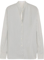 Victoria Beckham Striped Silk Crepe De Chine Shirt - White