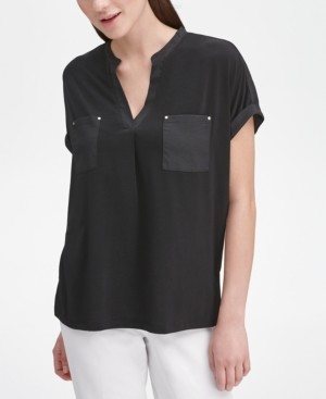 Calvin Klein V-Neck Mixed-Texture Top