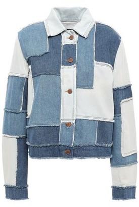 Love Moschino Frayed Patchwork Denim Jacket