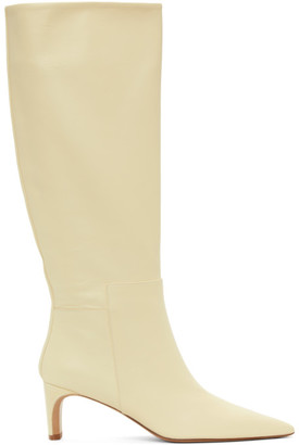 Jil Sander Off-White Pointy Toe Heeled Tall Boots