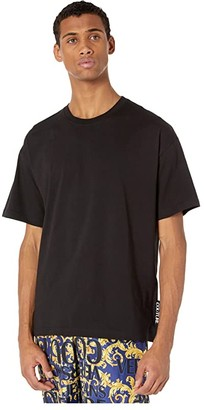 Versace Macro Logo Over Fit T-Shirt (Black) Men's Clothing