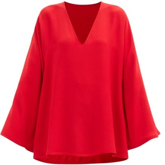 Valentino Flared-sleeve Cady Blouse - Red