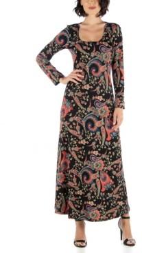 24seven Comfort Apparel Women's Long Sleeve Floral Print A-Line Maxi Dress