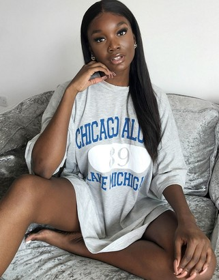 ASOS DESIGN oversized t-shirt dress in grey with chicago print