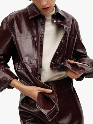 MANGO Faux Leather Midi Skirt, Dark Red