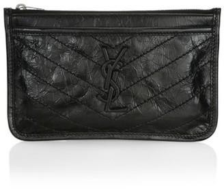 Saint Laurent Niki Leather Zip Pouch