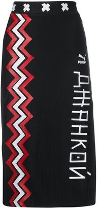 Puma x digital print pencil skirt