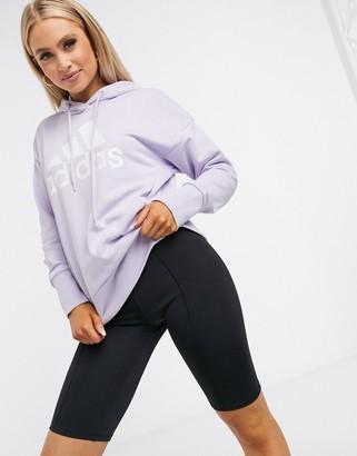 adidas Badge of Sport long overhead hoodie in purple tint & white