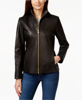 Cole Haan Stand-Collar Leather Jacket