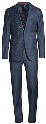 Isaia Saxony Mouline Slim-Fit Pinstripe Wool Suit