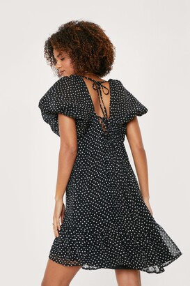 Nasty Gal Womens Polka Dot Tie Back Mini Smock Dress - White - 10