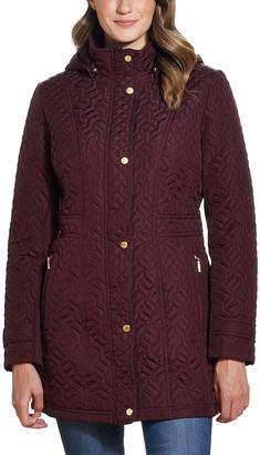 Weatherproof Women's Anoraks & Parkas ROSEWOOD - Burgundy Hooded Quilted Walker Jacket - Women