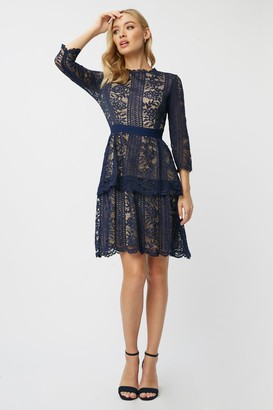 Little Mistress Aliza Navy Contrast Lace Tiered Dress