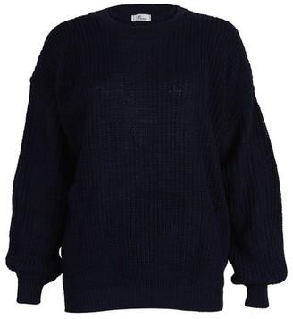 Fashion Mark FashionMark Womens Chunky Knitted Baggy Style Oversize Plain Jumper Sweater Top - Blue - 8 UK/16 UK (One Size)