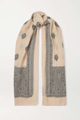 Etro Wool-blend Jacquard Scarf - Beige