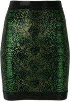 Balmain beaded embroidery mini skirt - women - Spandex/Elastane/Viscose/Aluminium/glass - 38