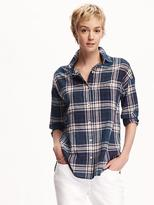 Old Navy Boyfriend Plaid Shirt for Women