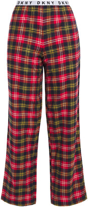 DKNY Check Please Printed Cotton-blend Flannel Pajama Pants