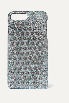 Christian Louboutin Loubiphone Glittered Leather Iphone 7 And 8 Plus Case - Silver