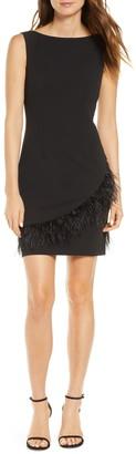 Harper Rose Feather Trim Sheath Dress