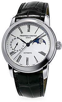 Frederique Constant Men's Classics Moonphase Manufacture Automatic Stainless Steel & Leather Strap Watch
