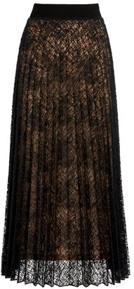 D-Exterior D.Exterior Pleated Lace Maxi Skirt