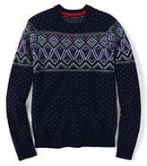 Classic Men's Fair Isle Chest Lambswool Crewneck Sweater-Dark Bay Blue Donegal