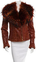 Gianfranco Ferre Fur-Trimmed Leather Jacket w/ Tags