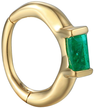 Pamela Love 8mm Floating Baguette Emerald Huggie Hoop Single Earring - Yellow Gold