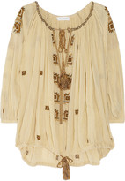 Etoile Isabel Marant Baker embroidered cotton-gauze smock top
