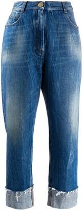 Balmain Wide-Leg Cropped Jeans