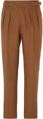 Rubinacci Manny Pleated Linen Trousers
